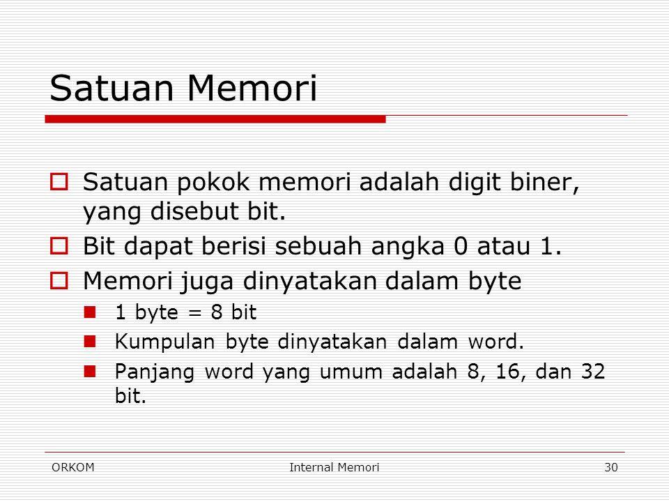 ORKOMInternal Memori30 Satuan Memori  Satuan pokok memori adalah digit biner, yang disebut bit.  Bit dapat berisi sebuah angka 0 atau 1.  Memori ju