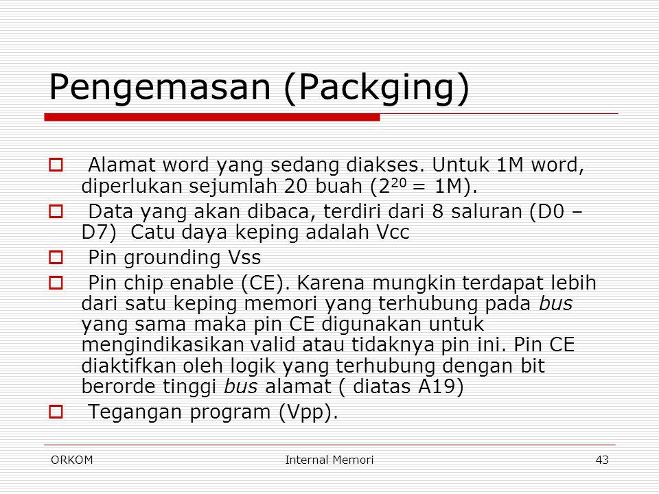 ORKOMInternal Memori43 Pengemasan (Packging)  Alamat word yang sedang diakses. Untuk 1M word, diperlukan sejumlah 20 buah (2 20 = 1M).  Data yang ak