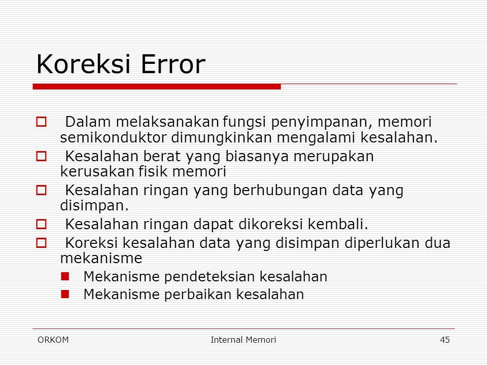 ORKOMInternal Memori45 Koreksi Error  Dalam melaksanakan fungsi penyimpanan, memori semikonduktor dimungkinkan mengalami kesalahan.  Kesalahan berat