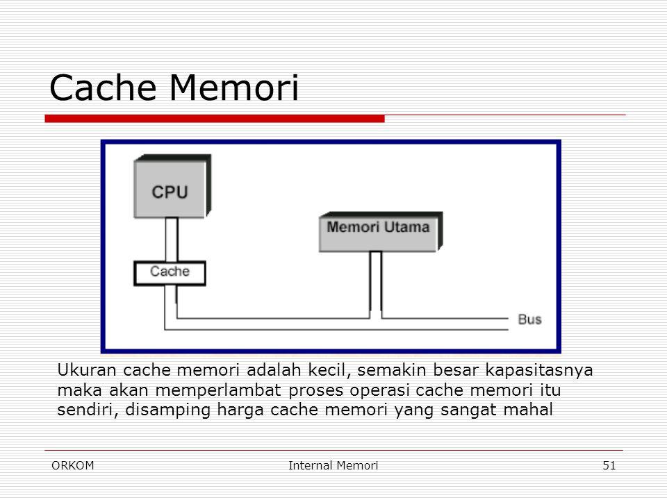 ORKOMInternal Memori51 Cache Memori Ukuran cache memori adalah kecil, semakin besar kapasitasnya maka akan memperlambat proses operasi cache memori it