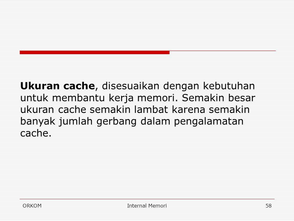 ORKOMInternal Memori58 Ukuran cache, disesuaikan dengan kebutuhan untuk membantu kerja memori. Semakin besar ukuran cache semakin lambat karena semaki