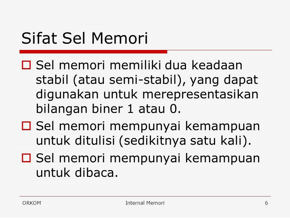 ORKOMInternal Memori17 Metode Akses(3)  Random access Setiap lokasi memori dipilih secara random dan diakses serta dialamati secara langsung.