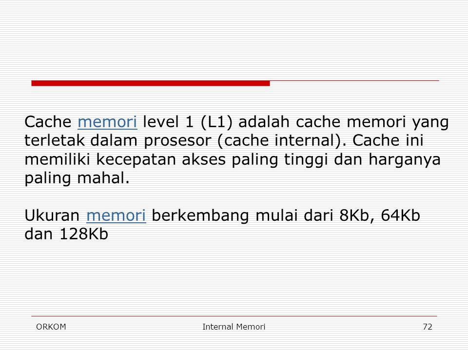 ORKOMInternal Memori72 Cache memori level 1 (L1) adalah cache memori yang terletak dalam prosesor (cache internal). Cache ini memiliki kecepatan akses