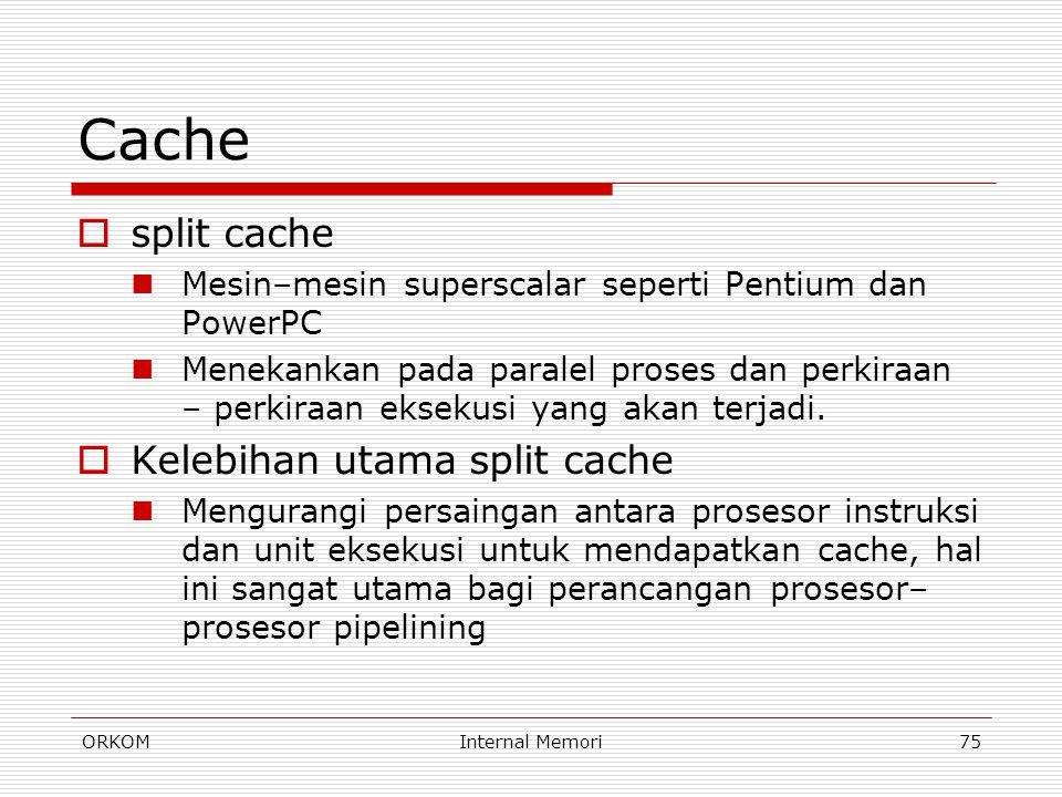 ORKOMInternal Memori75 Cache  split cache Mesin–mesin superscalar seperti Pentium dan PowerPC Menekankan pada paralel proses dan perkiraan – perkiraa