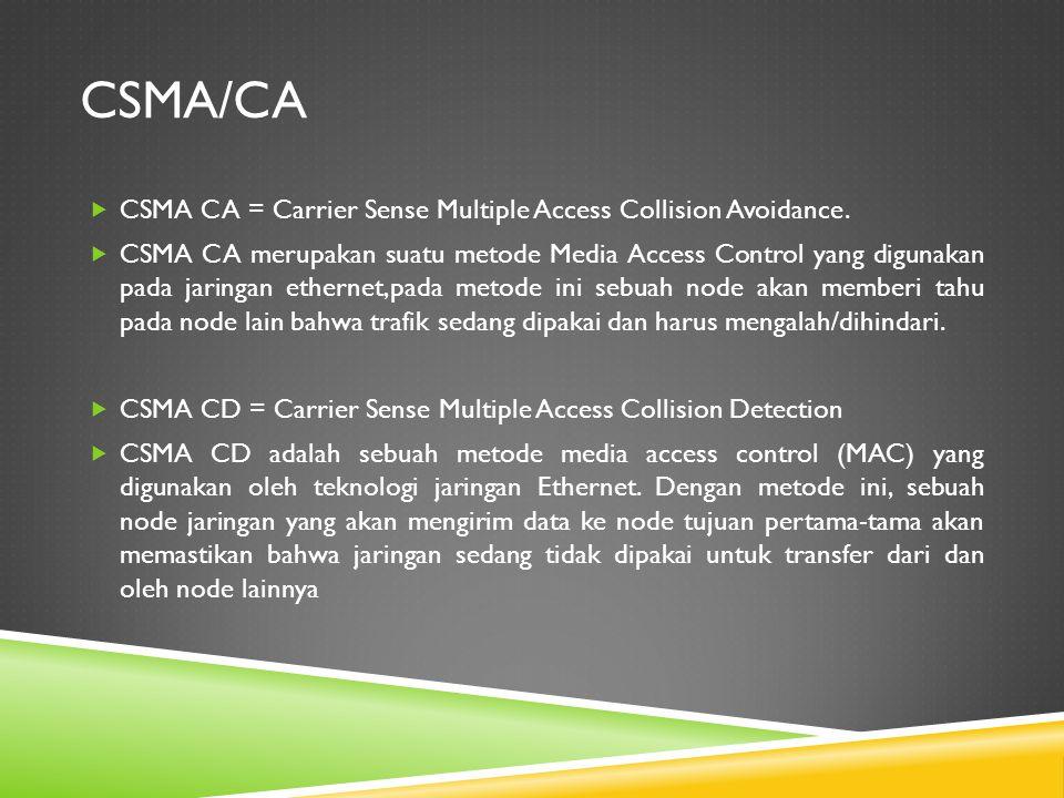 CSMA/CA  CSMA CA = Carrier Sense Multiple Access Collision Avoidance.  CSMA CA merupakan suatu metode Media Access Control yang digunakan pada jarin