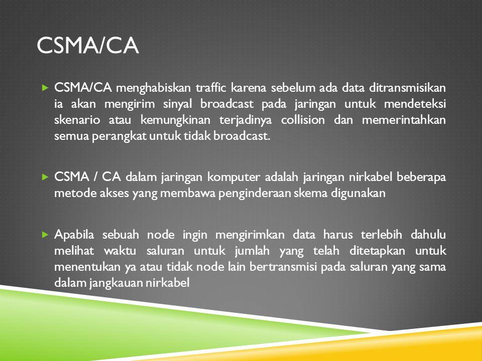 CSMA/CA  CSMA/CA menghabiskan traffic karena sebelum ada data ditransmisikan ia akan mengirim sinyal broadcast pada jaringan untuk mendeteksi skenari