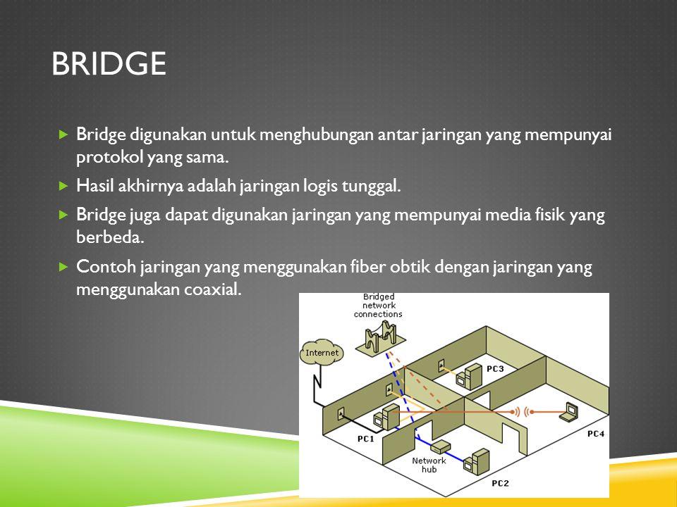 BRIDGE  Bridge digunakan untuk menghubungan antar jaringan yang mempunyai protokol yang sama.  Hasil akhirnya adalah jaringan logis tunggal.  Bridg