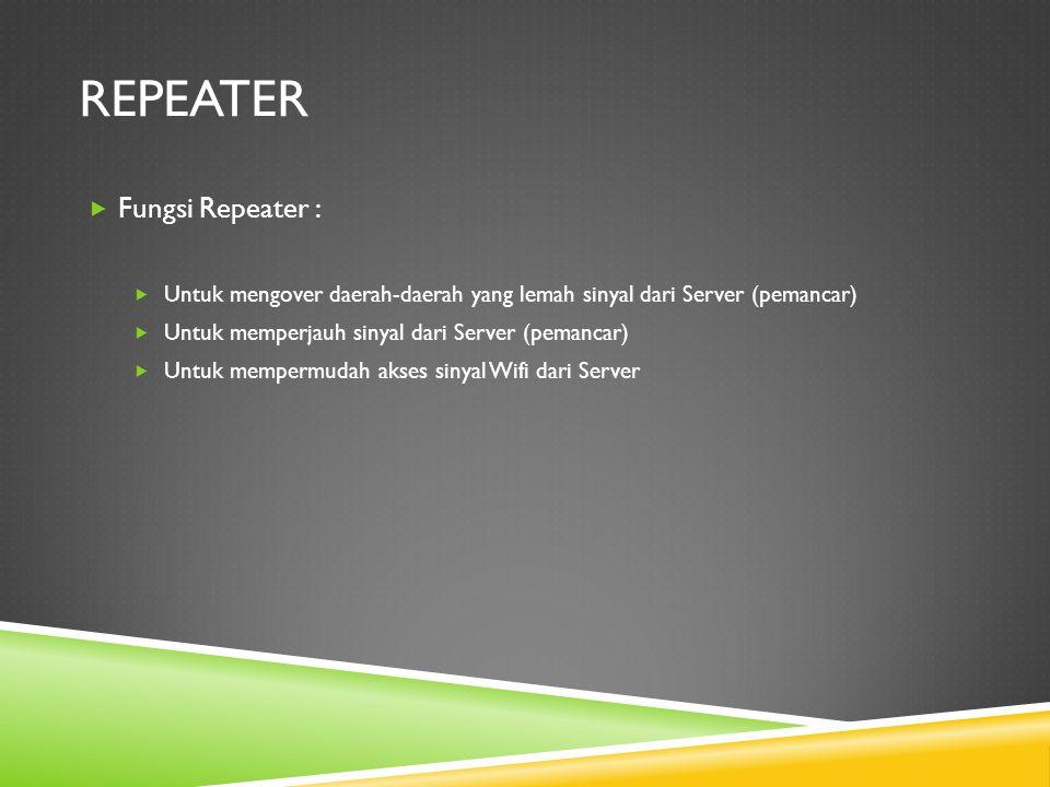 REPEATER  Fungsi Repeater :  Untuk mengover daerah-daerah yang lemah sinyal dari Server (pemancar)  Untuk memperjauh sinyal dari Server (pemancar)