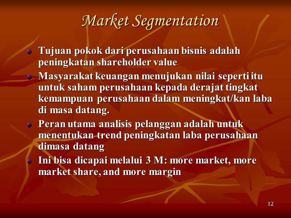 12 Market Segmentation Tujuan pokok dari perusahaan bisnis adalah peningkatan shareholder value Masyarakat keuangan menujukan nilai seperti itu untuk