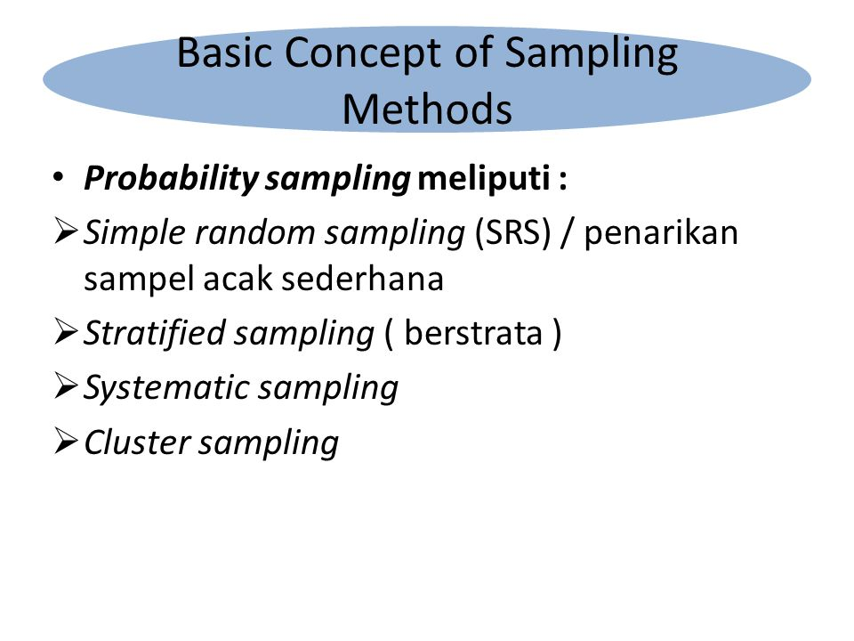 Probability sampling meliputi :  Simple random sampling (SRS) / penarikan sampel acak sederhana  Stratified sampling ( berstrata )  Systematic samp