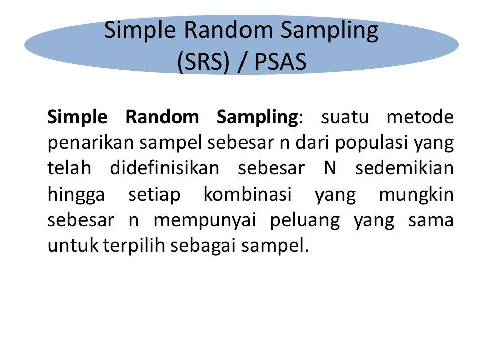 Simple Random Sampling: suatu metode penarikan sampel sebesar n dari populasi yang telah didefinisikan sebesar N sedemikian hingga setiap kombinasi yang mungkin sebesar n mempunyai peluang yang sama untuk terpilih sebagai sampel.