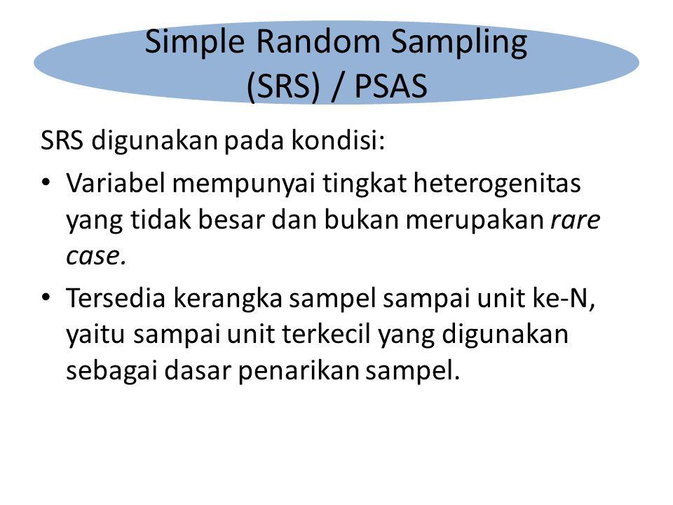SRS digunakan pada kondisi: Variabel mempunyai tingkat heterogenitas yang tidak besar dan bukan merupakan rare case.