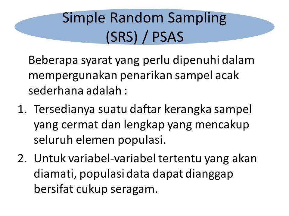 Beberapa syarat yang perlu dipenuhi dalam mempergunakan penarikan sampel acak sederhana adalah : 1.Tersedianya suatu daftar kerangka sampel yang cermat dan lengkap yang mencakup seluruh elemen populasi.