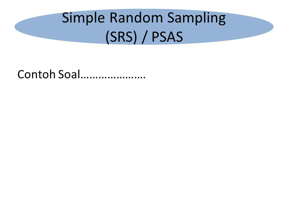 Contoh Soal…………………. Simple Random Sampling (SRS) / PSAS