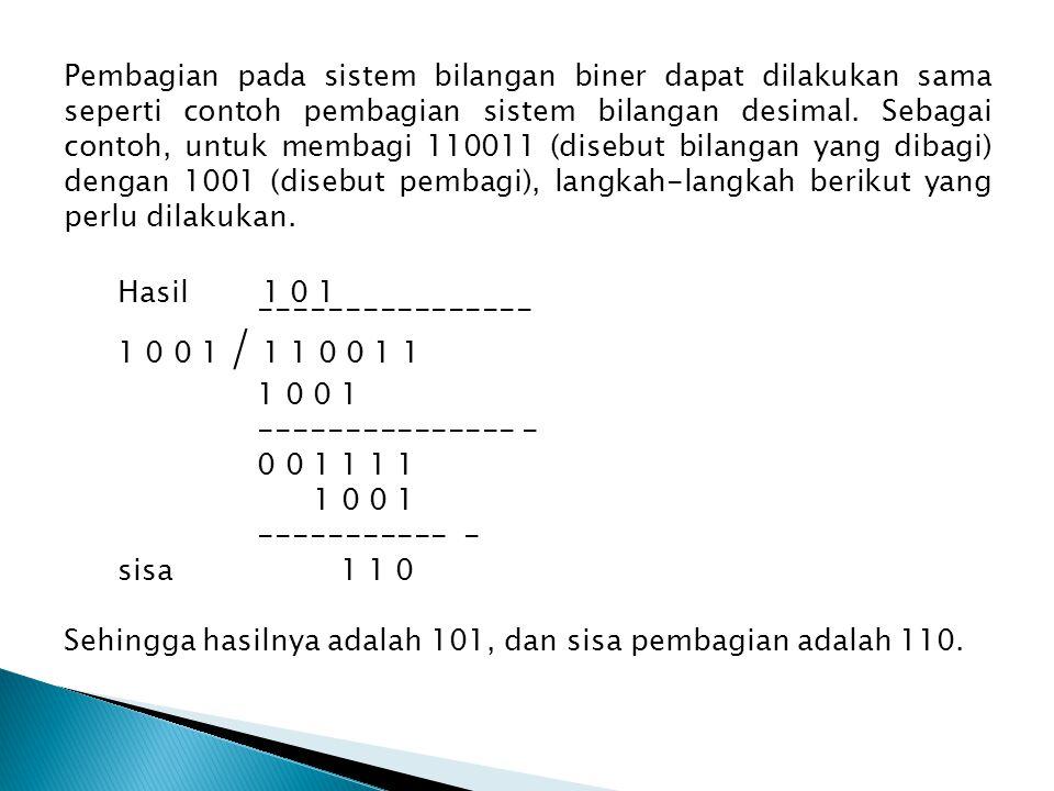 Pembagian pada sistem bilangan biner dapat dilakukan sama seperti contoh pembagian sistem bilangan desimal.