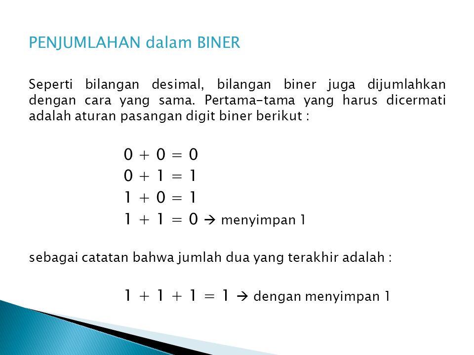 PENJUMLAHAN dalam BINER Seperti bilangan desimal, bilangan biner juga dijumlahkan dengan cara yang sama.