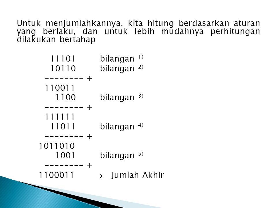 Untuk menjumlahkannya, kita hitung berdasarkan aturan yang berlaku, dan untuk lebih mudahnya perhitungan dilakukan bertahap 11101 bilangan 1) 10110 bilangan 2) -------- + 110011 1100 bilangan 3) -------- + 111111 11011 bilangan 4) -------- + 1011010 1001 bilangan 5) -------- + 1100011   Jumlah Akhir