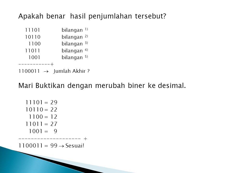 PENGURANGAN dalam BINER Untuk memahami konsep pengurangan biner, kita harus mengingat kembali perhitungan desimal (angka biasa), kita mengurangkan digit desimal dengan digit desimal yang lebih kecil.