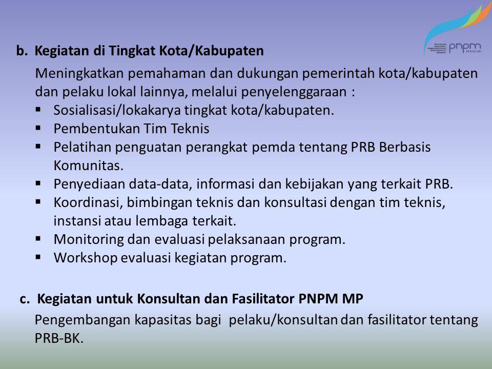 b. Kegiatan di Tingkat Kota/Kabupaten Meningkatkan pemahaman dan dukungan pemerintah kota/kabupaten dan pelaku lokal lainnya, melalui penyelenggaraan