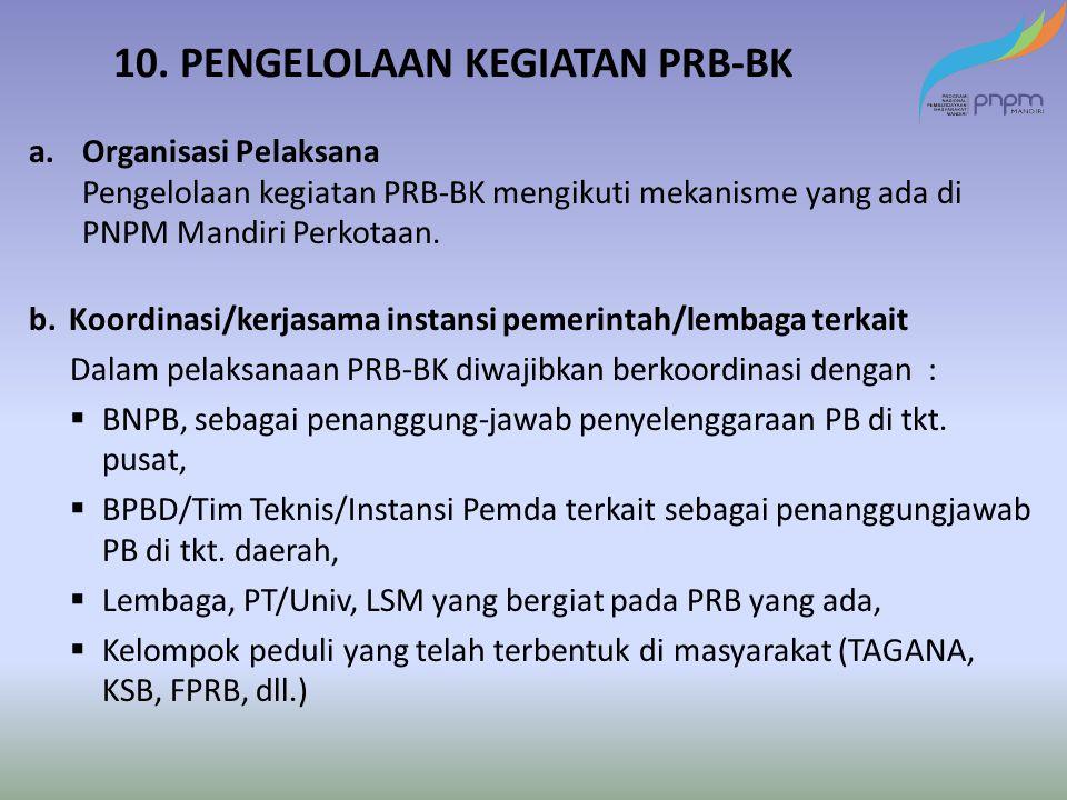 10. PENGELOLAAN KEGIATAN PRB-BK a.Organisasi Pelaksana Pengelolaan kegiatan PRB-BK mengikuti mekanisme yang ada di PNPM Mandiri Perkotaan. b.Koordinas