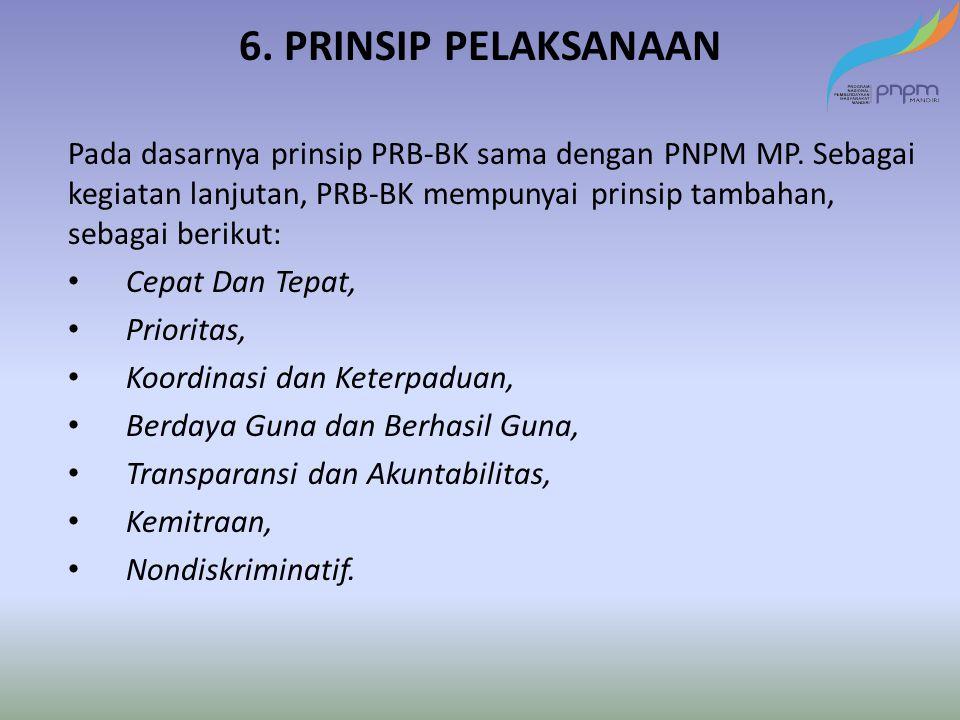 6. PRINSIP PELAKSANAAN Pada dasarnya prinsip PRB-BK sama dengan PNPM MP. Sebagai kegiatan lanjutan, PRB-BK mempunyai prinsip tambahan, sebagai berikut