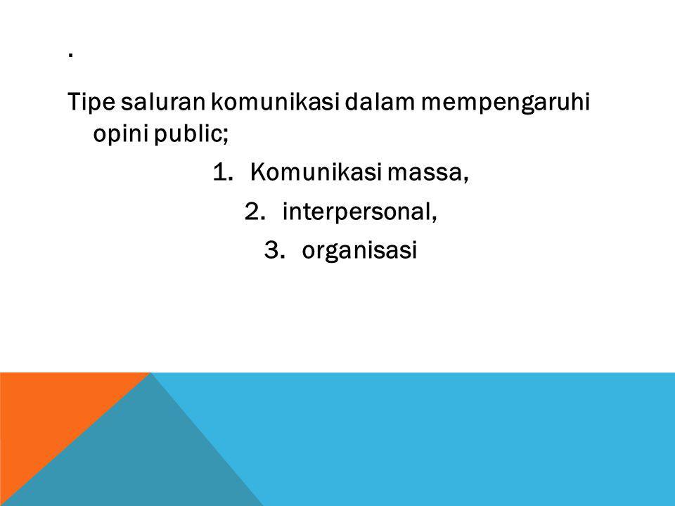 Tipe saluran komunikasi dalam mempengaruhi opini public; 1.Komunikasi massa, 2.interpersonal, 3.organisasi.