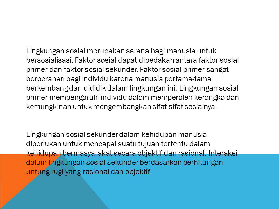 Lingkungan sosial merupakan sarana bagi manusia untuk bersosialisasi. Faktor sosial dapat dibedakan antara faktor sosial primer dan faktor sosial seku