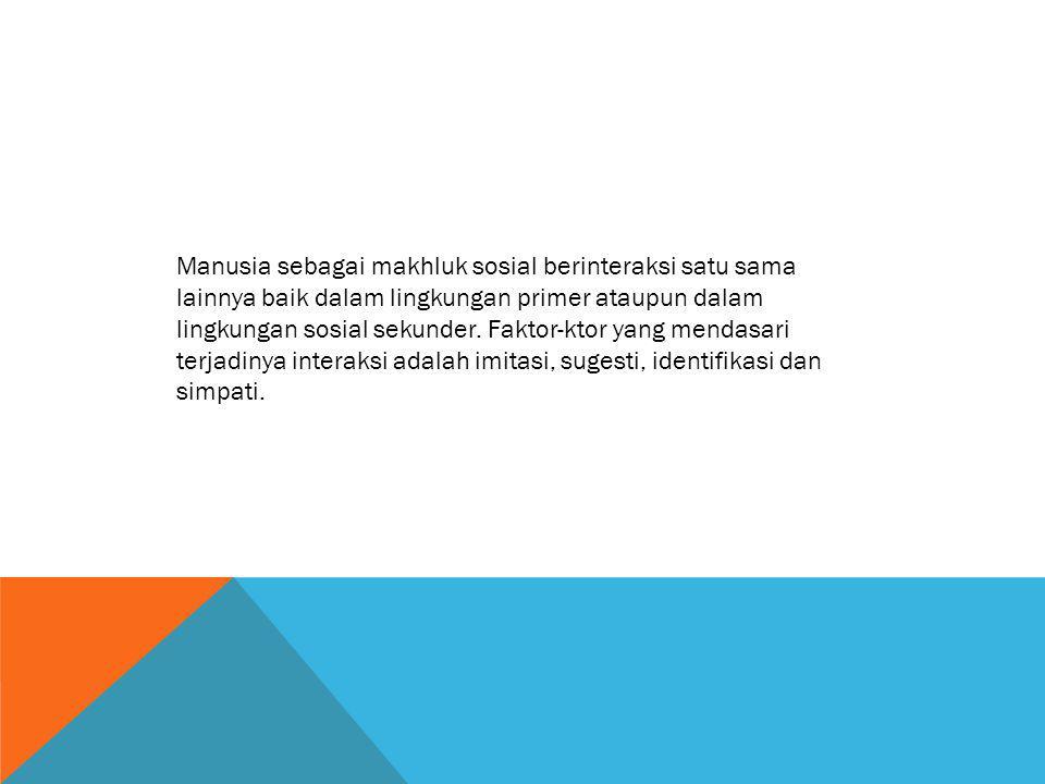 Manusia sebagai makhluk sosial berinteraksi satu sama lainnya baik dalam lingkungan primer ataupun dalam lingkungan sosial sekunder. Faktor-ktor yang