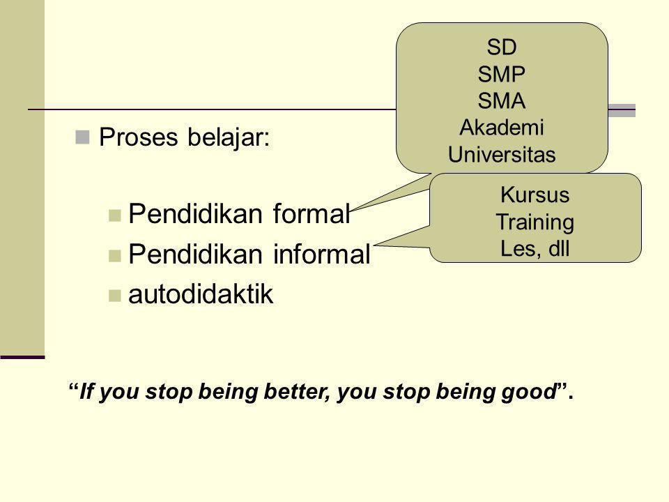 Proses belajar: Pendidikan formal Pendidikan informal autodidaktik SD SMP SMA Akademi Universitas Kursus Training Les, dll If you stop being better, you stop being good .