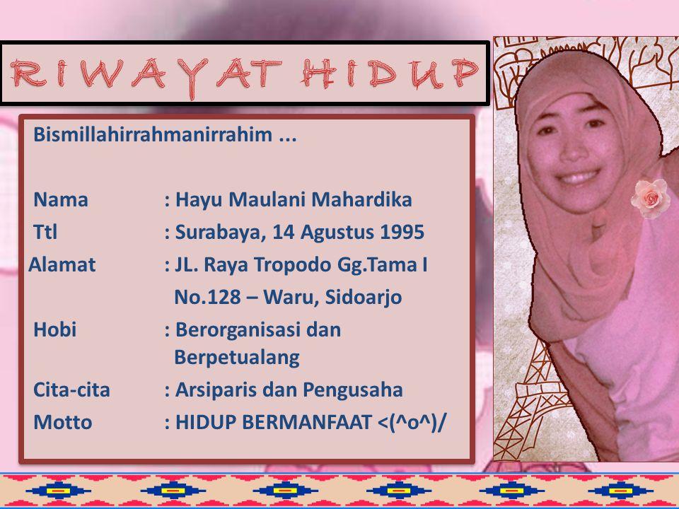 Bismillahirrahmanirrahim...Nama: Hayu Maulani Mahardika Ttl: Surabaya, 14 Agustus 1995 Alamat: JL.