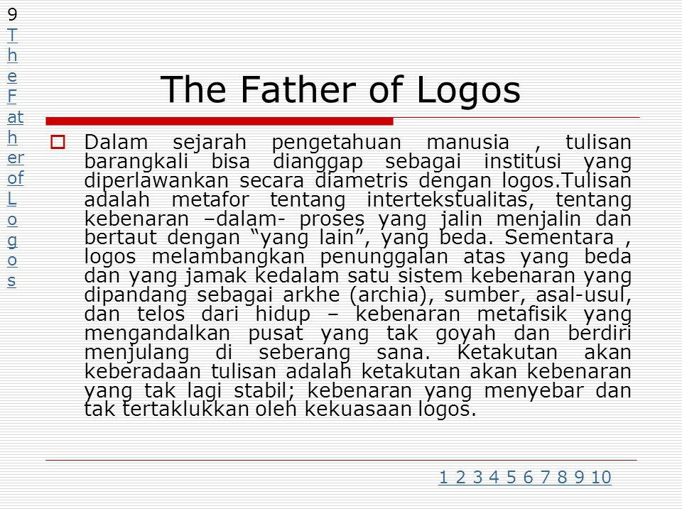 The Father of Logos  Dalam sejarah pengetahuan manusia, tulisan barangkali bisa dianggap sebagai institusi yang diperlawankan secara diametris dengan logos.Tulisan adalah metafor tentang intertekstualitas, tentang kebenaran –dalam- proses yang jalin menjalin dan bertaut dengan yang lain , yang beda.