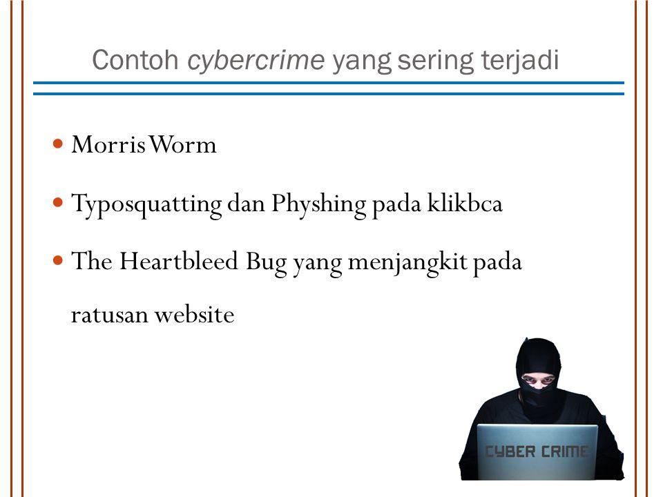 Contoh cybercrime yang sering terjadi Morris Worm Typosquatting dan Physhing pada klikbca The Heartbleed Bug yang menjangkit pada ratusan website