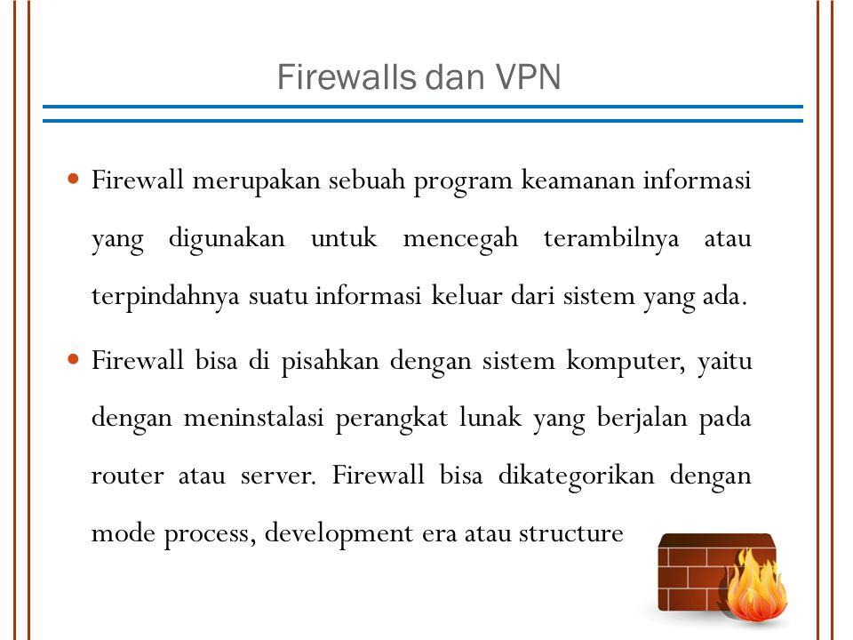 Firewalls dan VPN Firewall merupakan sebuah program keamanan informasi yang digunakan untuk mencegah terambilnya atau terpindahnya suatu informasi kel