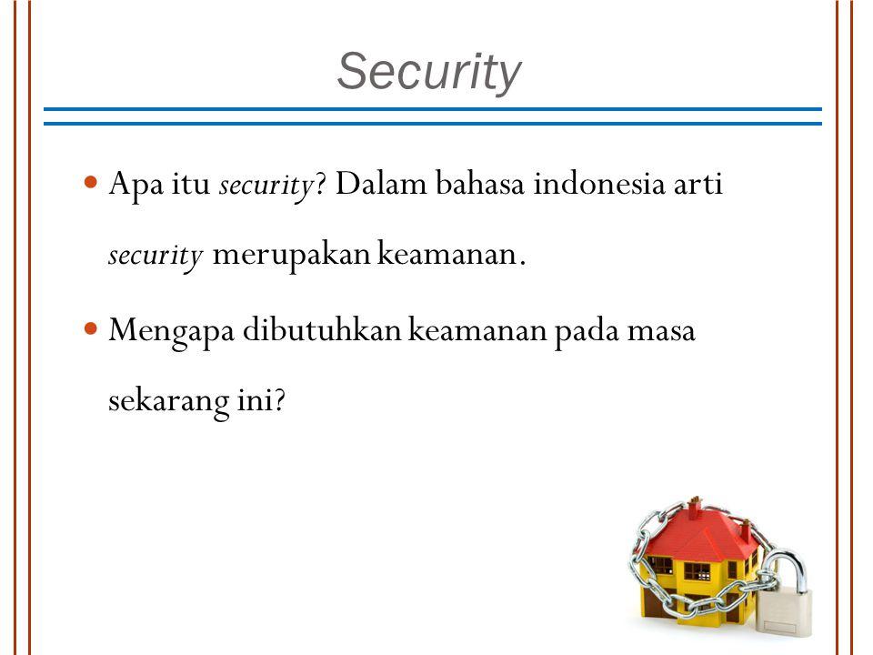 Security Apa itu security? Dalam bahasa indonesia arti security merupakan keamanan. Mengapa dibutuhkan keamanan pada masa sekarang ini?