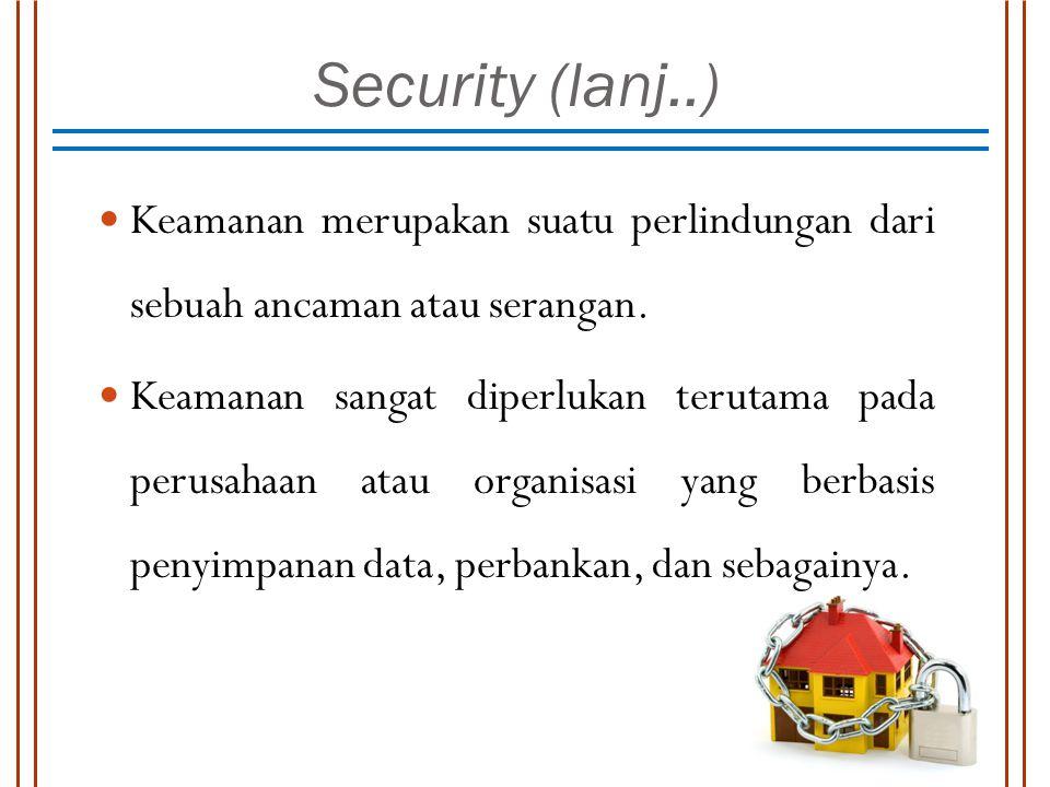 Security (lanj..) Keamanan merupakan suatu perlindungan dari sebuah ancaman atau serangan. Keamanan sangat diperlukan terutama pada perusahaan atau or
