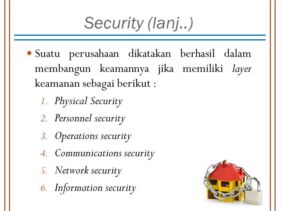 Security (lanj..) Suatu perusahaan dikatakan berhasil dalam membangun keamannya jika memiliki layer keamanan sebagai berikut : 1. Physical Security 2.