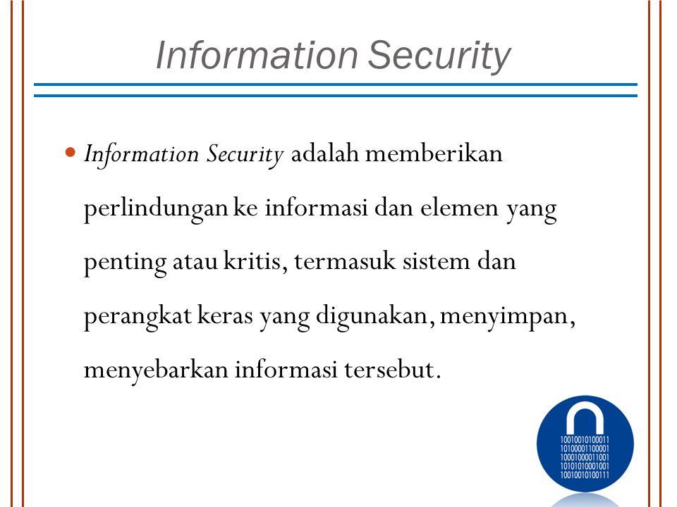 Information Security Information Security adalah memberikan perlindungan ke informasi dan elemen yang penting atau kritis, termasuk sistem dan perangk