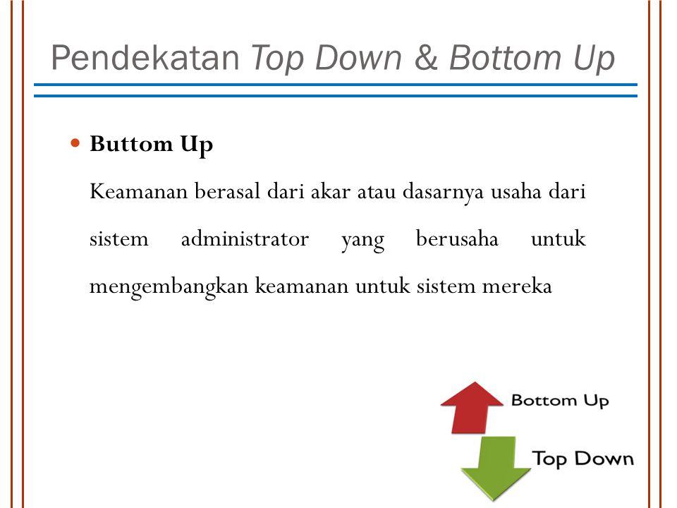Pendekatan Top Down & Bottom Up Buttom Up Keamanan berasal dari akar atau dasarnya usaha dari sistem administrator yang berusaha untuk mengembangkan k