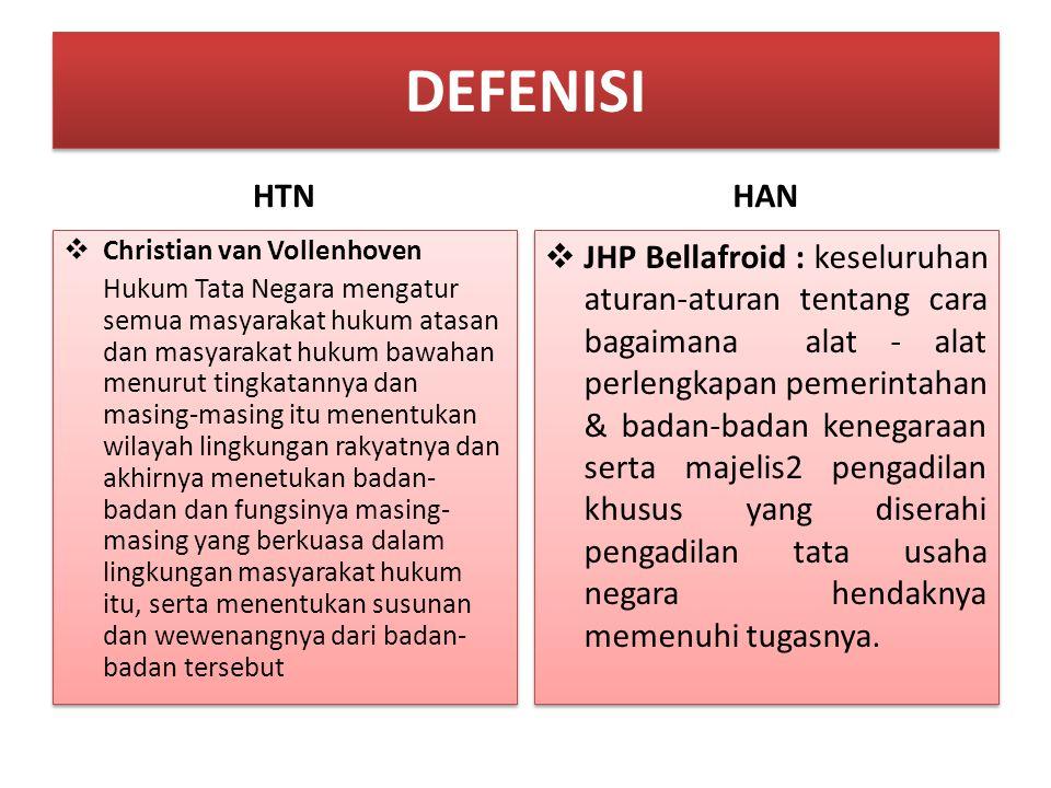 DEFENISI HTN  Christian van Vollenhoven Hukum Tata Negara mengatur semua masyarakat hukum atasan dan masyarakat hukum bawahan menurut tingkatannya da