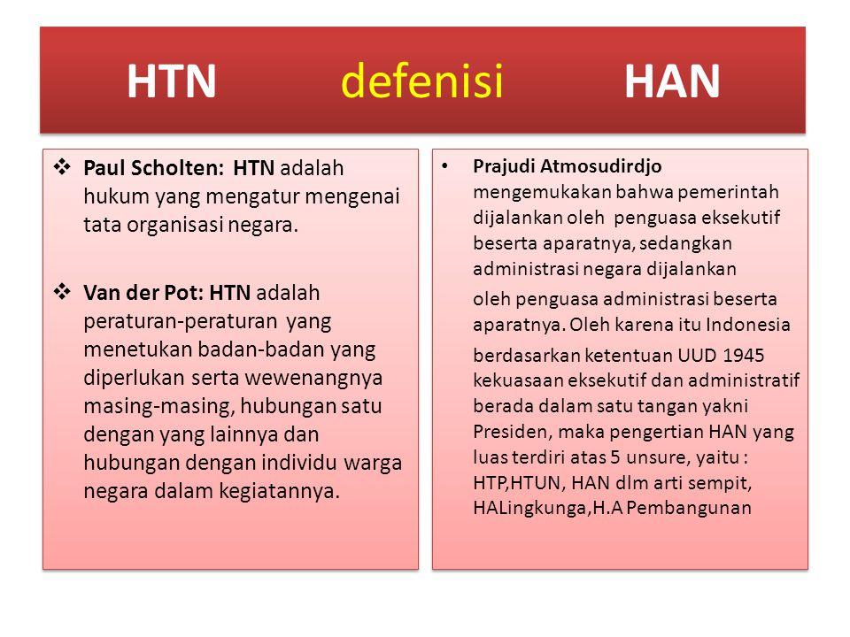 HTNdefenisiHAN  Paul Scholten: HTN adalah hukum yang mengatur mengenai tata organisasi negara.  Van der Pot: HTN adalah peraturan-peraturan yang men