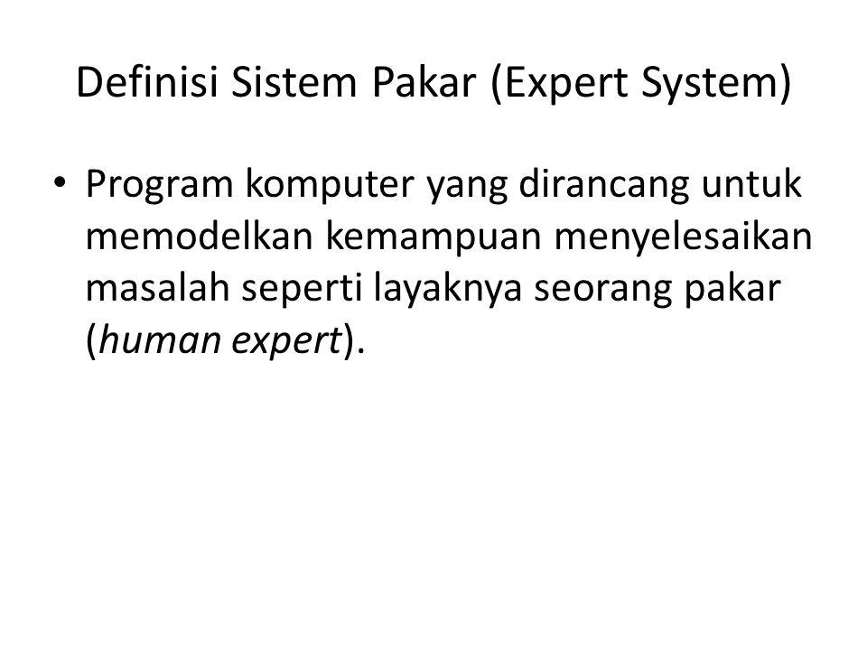 Definisi Sistem Pakar (Expert System) Program komputer yang dirancang untuk memodelkan kemampuan menyelesaikan masalah seperti layaknya seorang pakar (human expert).