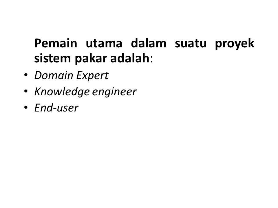Pemain utama dalam suatu proyek sistem pakar adalah: Domain Expert Knowledge engineer End-user