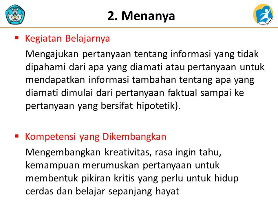 2. Menanya  Kegiatan Belajarnya Mengajukan pertanyaan tentang informasi yang tidak dipahami dari apa yang diamati atau pertanyaan untuk mendapatkan i