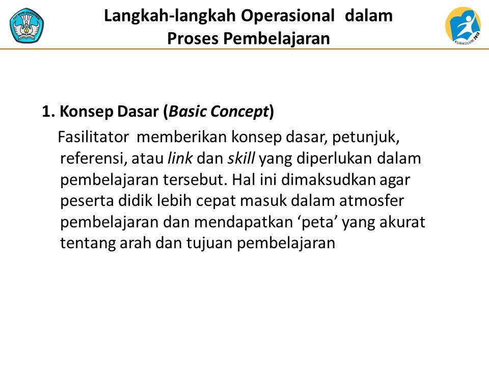 Langkah-langkah Operasional dalam Proses Pembelajaran 1. Konsep Dasar (Basic Concept) Fasilitator memberikan konsep dasar, petunjuk, referensi, atau l