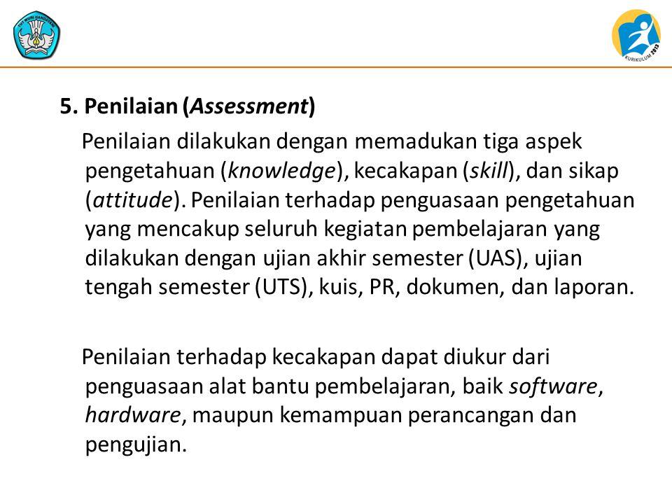 5. Penilaian (Assessment) Penilaian dilakukan dengan memadukan tiga aspek pengetahuan (knowledge), kecakapan (skill), dan sikap (attitude). Penilaian