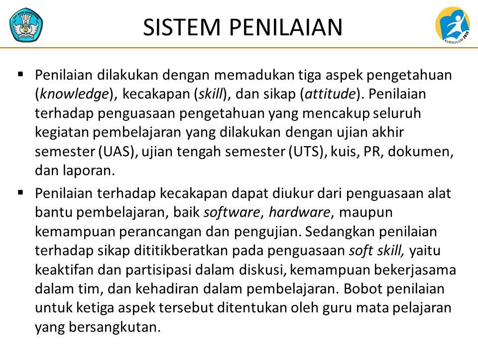 SISTEM PENILAIAN  Penilaian dilakukan dengan memadukan tiga aspek pengetahuan (knowledge), kecakapan (skill), dan sikap (attitude). Penilaian terhada