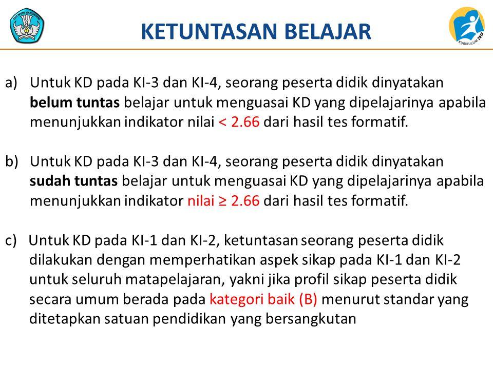 a)Untuk KD pada KI-3 dan KI-4, seorang peserta didik dinyatakan belum tuntas belajar untuk menguasai KD yang dipelajarinya apabila menunjukkan indikat