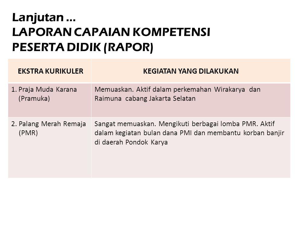 EKSTRA KURIKULERKEGIATAN YANG DILAKUKAN 1.Praja Muda Karana (Pramuka) Memuaskan. Aktif dalam perkemahan Wirakarya dan Raimuna cabang Jakarta Selatan 2