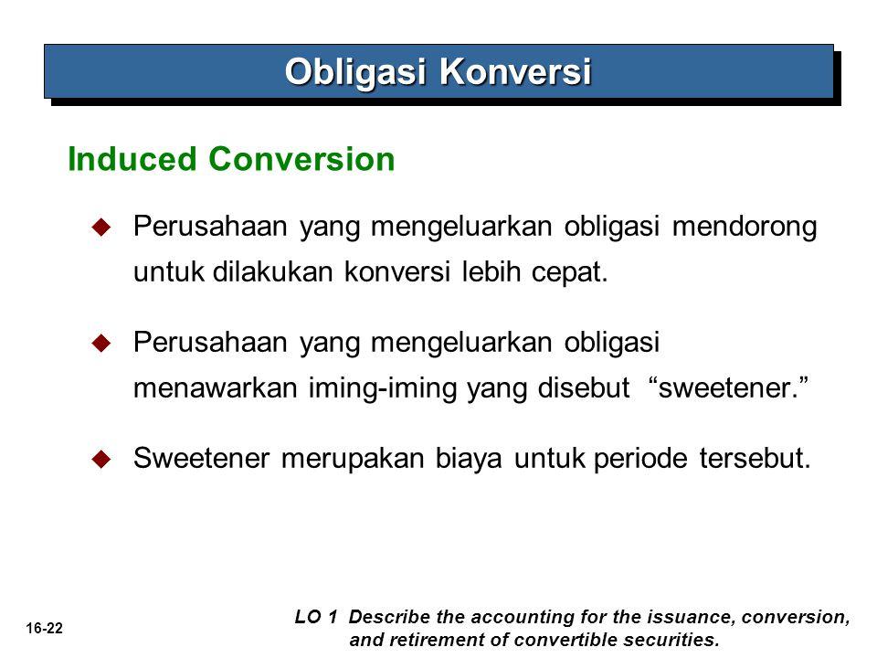 16-22   Perusahaan yang mengeluarkan obligasi mendorong untuk dilakukan konversi lebih cepat.   Perusahaan yang mengeluarkan obligasi menawarkan i
