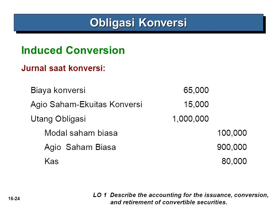 16-24 Obligasi Konversi LO 1 Describe the accounting for the issuance, conversion, and retirement of convertible securities. Induced Conversion Jurnal
